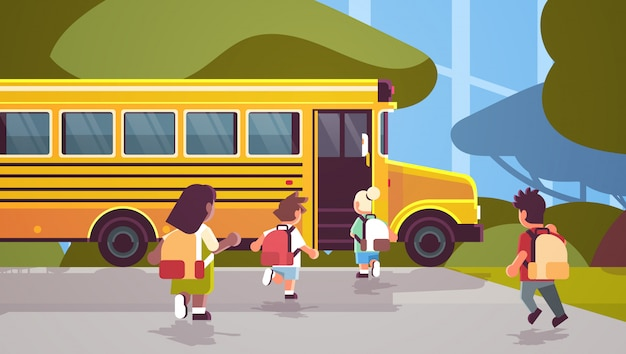 Group of mix race pupils with backpacks walking to yellow bus back to school pupil transportation concept landscape background flat full length horizontal rear view