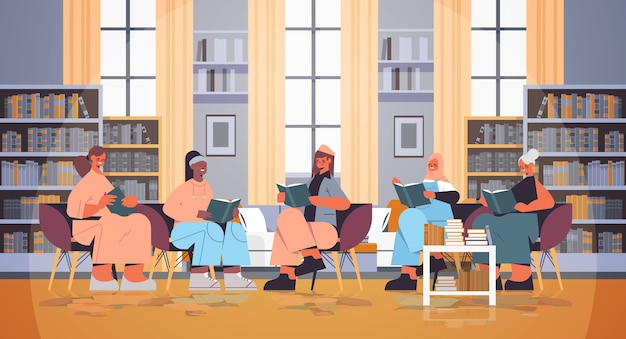 Group of mix race women sitting together and reading books modern book club interior horizontal full length vector illustration