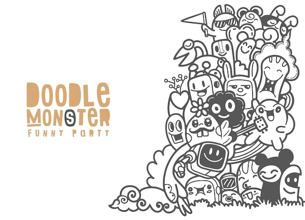 Group of  monster for your design. template for advertising brochure. funny doodle