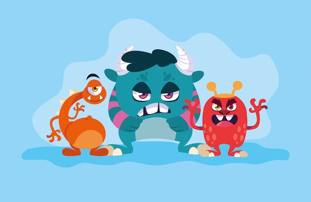 Group of monsters cartoons