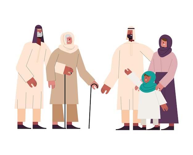 Group of muslim family