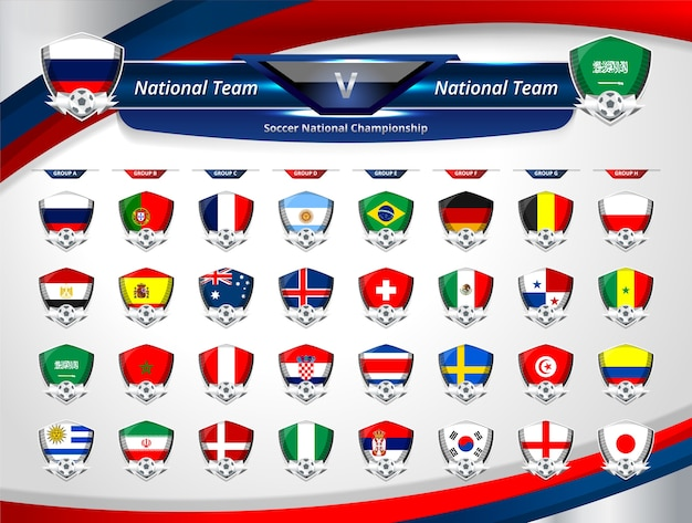 Group of national team for world soccer russia 2018