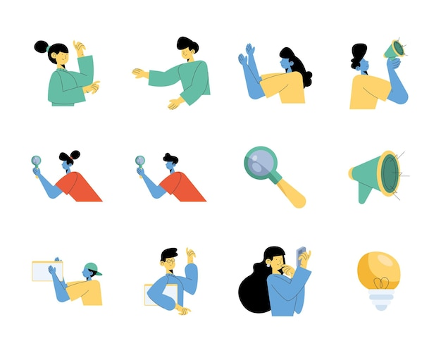 Group of nine persons with digital marketing icons illustration design