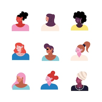 Group of nine young women characters  illustration
