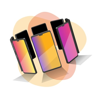 Группа 3d моделей сотовых телефонов. смартфоны в форме круга. 3d модели элементов для вашего дизайна в векторе. креативные картинки для вашего баннера, сотовый рекламный плакат.