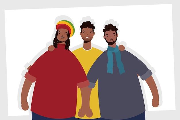 アフロ男性キャラクターのグループ
