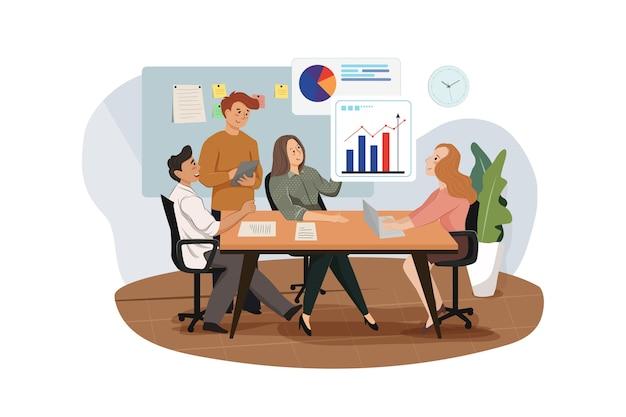 Группа аналитиков, работающих над графиками