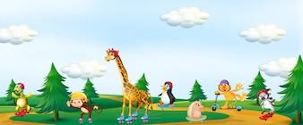 公園で遊ぶ動物のグループ