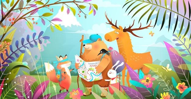 葉の花と山と魔法の森でハイキングする動物の友人のグループ。地図を見ている冒険的なクマウサギキツネとムースと自然の風景。子供のためのイラスト。