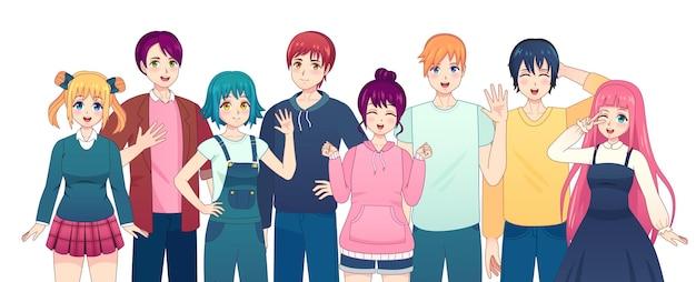 アニメキャラクターのグループ。日本のコミックスタイルの若いマンガの女の子と男の子の友達。笑顔の韓国の男性と女性の学生のベクトルを設定します。カジュアルな服装で幸せなかわいい学校の人々