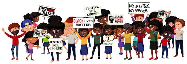 白い背景の上の反人種差別抗議者のグループ