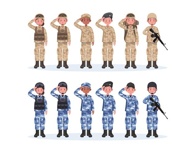 군대, 남자와 여자의 그룹, 위장 전투 유니폼 경례. 귀여운 플랫 만화 스타일.