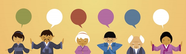 채팅 거품 여자와 전통 옷을 입고 아시아 사람들의 그룹