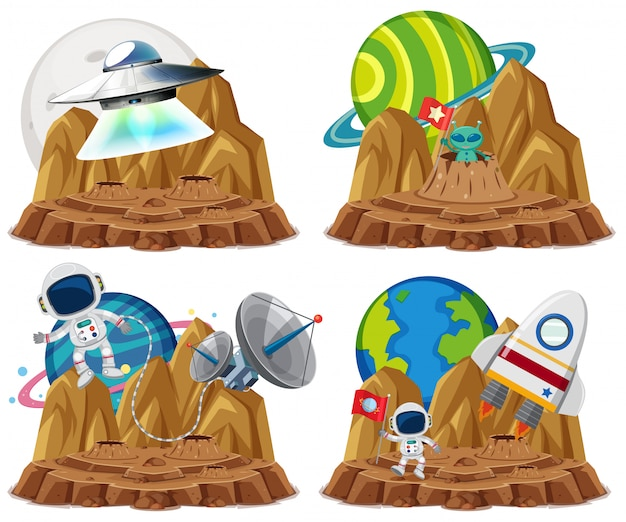 흰색 배경에 행성 만화 스타일에서 ufo와 우주 비행사의 그룹