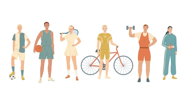 さまざまな種類のスポーツのアスリートのグループ。