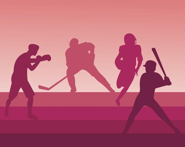 스포츠 실루엣 그림을 연습하는 운동 사람들의 그룹