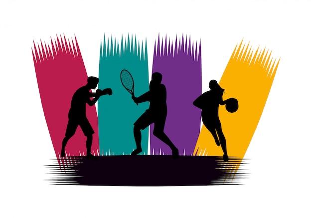スポーツシルエットを練習する運動の人々のグループ