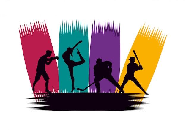 Группа спортивных людей, практикующих спортивные силуэты