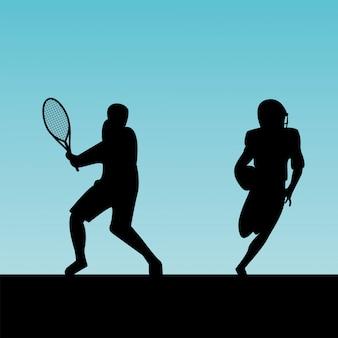 스포츠 실루엣을 연습하는 운동 사람들의 그룹