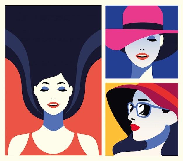 美しい女性のファッショナブルなキャラクターのグループ