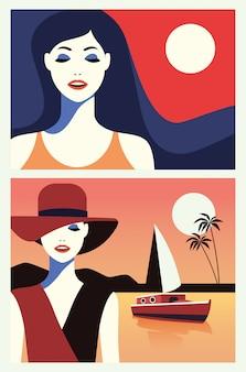 海の景色のフラットシーンで美しい女性のグループ