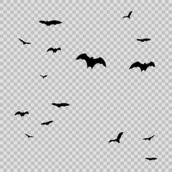 투명 baackground에 할로윈에 대 한 검은 박쥐의 그룹입니다. 벡터