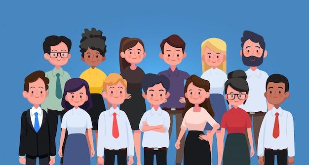 비즈니스 남성과 여성, 일하는 사람들의 그룹. 비즈니스 팀과 팀워크 개념입니다.