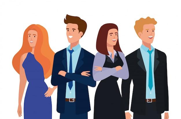 ビジネス人々アバターキャラクターのグループ 無料ベクター