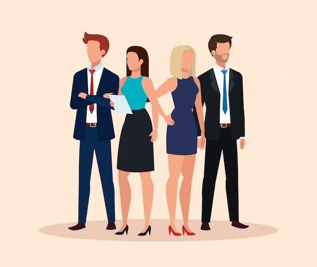 ビジネス人々アバターキャラクターのグループ