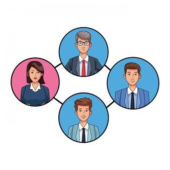 ラウンドのビジネス人々のアバターのプロフィール写真のグループ
