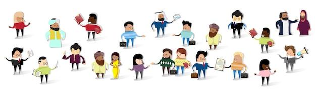 Группа деловых людей мультфильм mix race businesspeople set