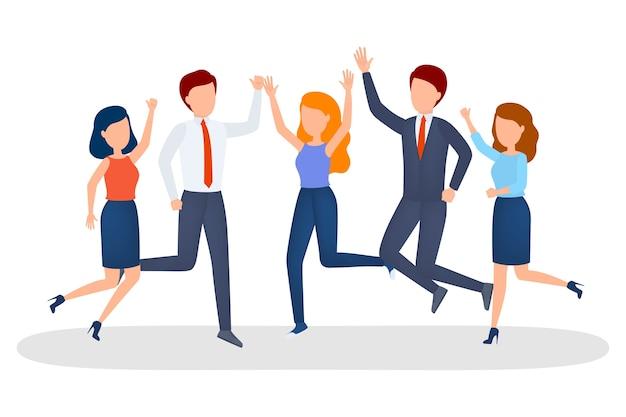 ビジネス人々のグループが成功を祝う
