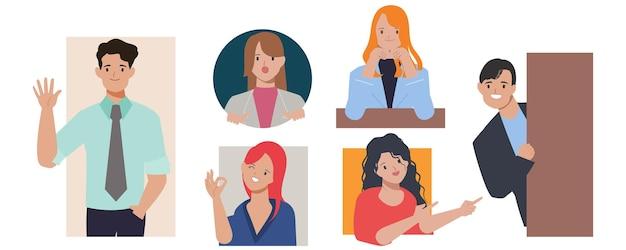 비즈니스 사람들이 캐릭터의 그룹 포즈.