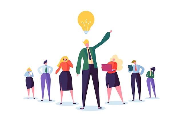 리더와 비즈니스 사람들이 문자 그룹. 팀워크와 리더십 개념. 아이디어 전구와 성공적인 사업가 플랫 사람들 앞에서 눈에 띄는.