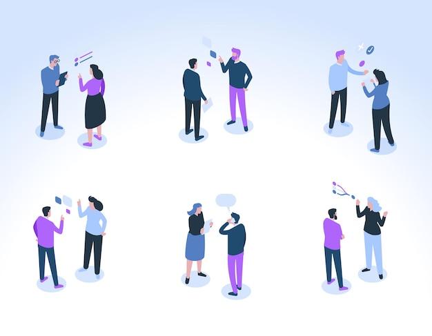 ビジネスマンのグループが通信します。男性と女性の同僚が話し、相談し、仕事のタスクについて話し合います。頭の上の吹き出しとトークシンボル。