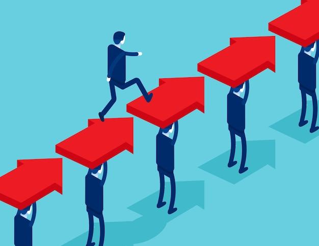 사업 사람들의 그룹은 리더를위한 길을 만듭니다