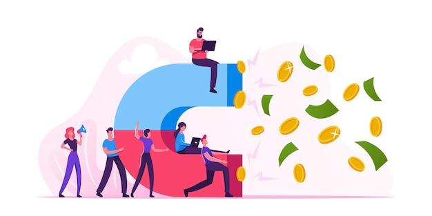 Группа деловых людей, держащих большой магнит и привлекающих деньги. мультфильм плоский иллюстрация