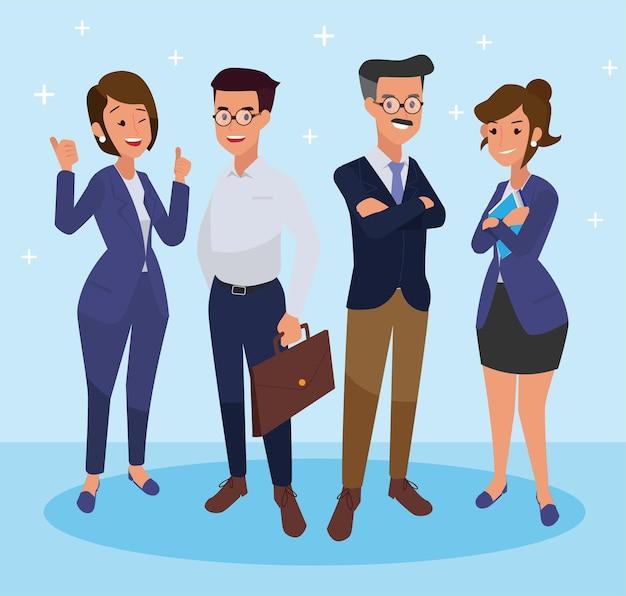고립 된 사업 사람들의 그룹입니다. 다른 스타일을 가진 다른 사람들. 간단한 평면 만화 스타일.