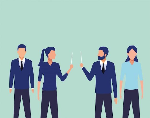 Группа деловых людей в команде персонажей