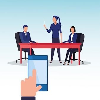테이블 문자 그림에서 비즈니스 사람들이 팀워크의 그룹