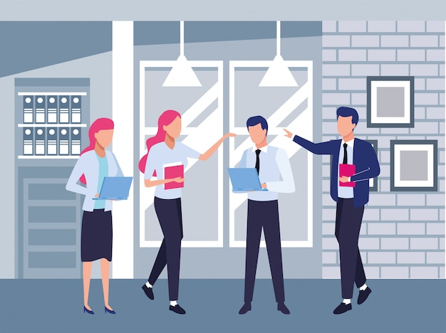 사무실 문자 그림에서 비즈니스 사람들이 팀워크의 그룹