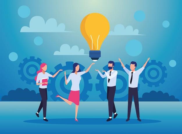 Группа деловых людей в команде с персонажами лампочки