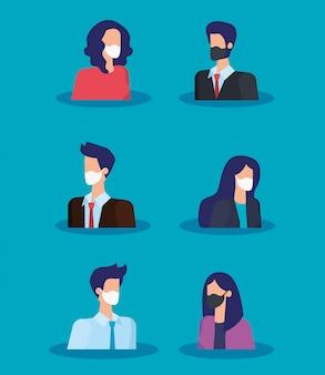 フェイスマスクを使用しているビジネス人々のグループ