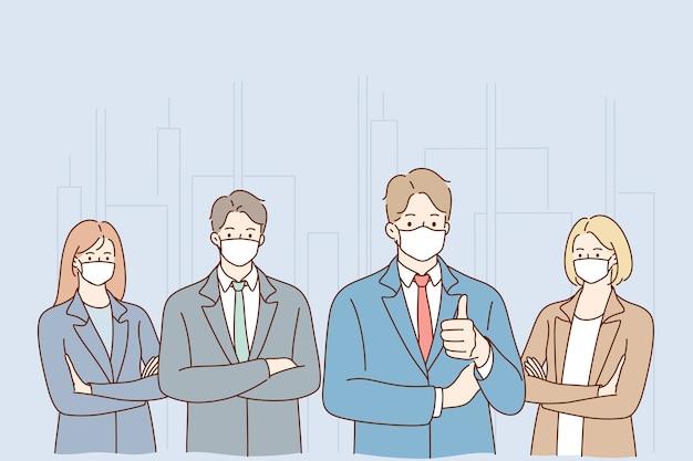 엄지 손가락을 보여주는 서 얼굴 의료 마스크를 착용하는 사업 사람들의 그룹입니다.
