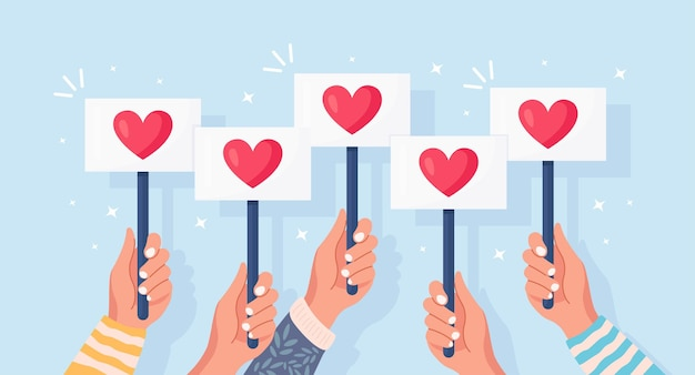 赤いハートのプラカードを持つビジネスマンのグループ。ソーシャルメディア、ネットワーク。良い意見。お客様の声、フィードバック、カスタマーレビュー、コンセプトなど。バレンタイン・デー