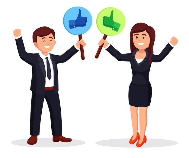 엄지 손가락으로 사업 사람들의 그룹입니다. 소셜 미디어. 좋은 의견입니다. 피드백, 고객 리뷰 개념