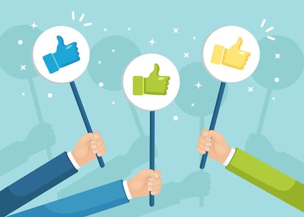 엄지 손가락으로 사업 사람들의 그룹입니다. 소셜 미디어. 좋은 의견입니다. 평가, 피드백, 고객 리뷰.