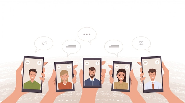 手でスマートフォンでビデオ通話のビジネスワーカーのグループ
