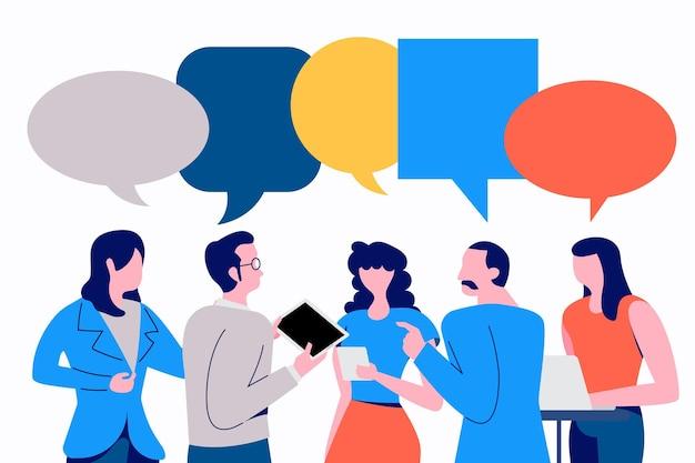 사업가의 그룹 토론 소셜 네트워크 팀워크 회의
