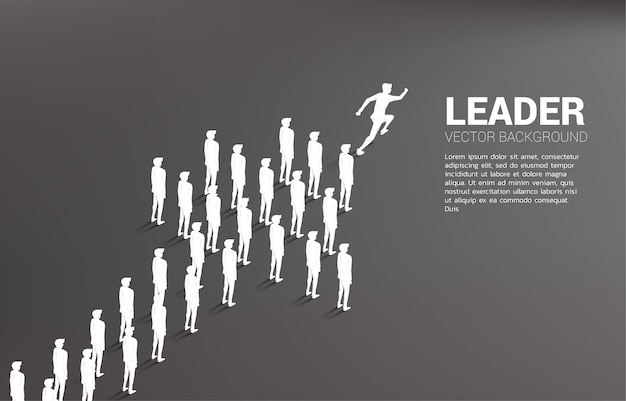 チームの形の矢印から実行されているビジネスマンのグループ。会社の使命とチームワークのためのビジネスコンセプト。